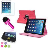 Insten INSTEN Hot Pink 360 Leather Case Cover+Matte Protector/Sticker For Apple iPad Air 5 5th Gen