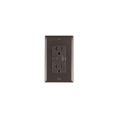 Cooper Lighting Cooper Wiring VGF20B 20-Amp GFCI Brown Duplex Receptacle - 2 Pole/3 Wire - Grounding