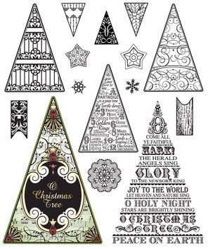Justrite JustRite Stampers Clear Stamp Set-O Christmas Tree 15pc