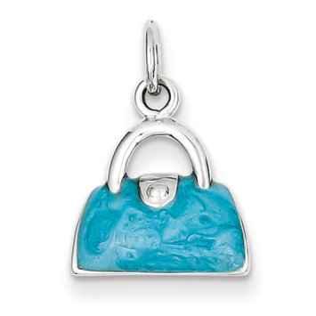 Sears Expired goldia Sterling Silver Enameled Blue Purse Charm