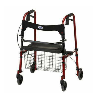 Nova Ortho-Med, Inc. ''Cruiser De-light'' Folding Walker in Red (Single Box with Basket)