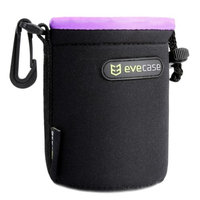 S Lens Pouch Carrying Case, Evecase Premium Universal Lens Pouch Carrying Case for DSLR / SLR Lens Small, Black w/Purple Lining