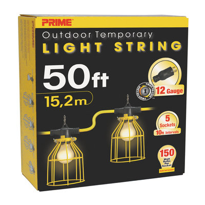 Prime Wire LSTLM830 12/3 Temporary Light String With Metal Cages