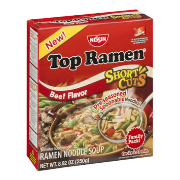 Nissin Top Ramen Soup Short Cuts Beef Flavor