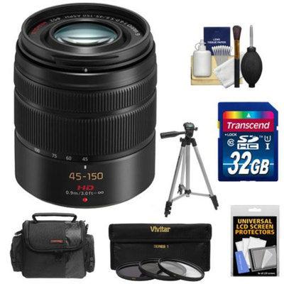 Panasonic Lumix G Vario 45-150mm f/4.0-5.6 OIS Lens with 32GB Card + Case + 3 UV/CPL/ND8 Filters + Tripod + Kit for G5, G6, GF5, GF6, GH3, GH4, GM1, GX7 Cameras