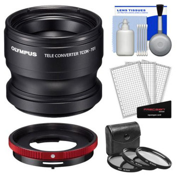 Olympus TCON-T01 Tele Converter Lens & CLA-T01 Adapter Ring Pack for Tough TG-1, TG-2 & TG-3 iHS Camera with 3 UV/CPL/ND8 Filters + Accessory Kit