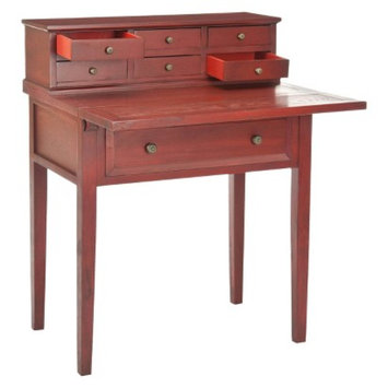 Writing Desk: Safavieh Catalonia Writing Desk - Red-Brown (Cherry)