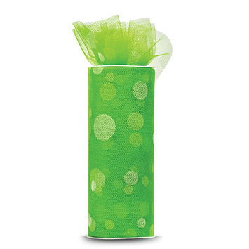 Expo TL2414-LM Polka Dot Flocked Tulle 6 in. x 10yd Spool-Lime