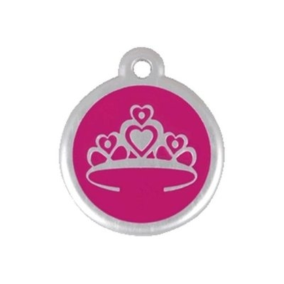Red Dingo 06-CR-HP-SM QR Tag Premium Crown Hot Pink Small