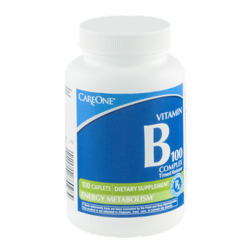 CareOne Timed Release Vitamin B-100 Complex Dietary Supplement Caplets - 100 CT