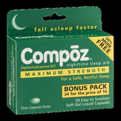 Compoz Nighttime Sleep Aid Soft Gel Liquid Capsules - 24 CT
