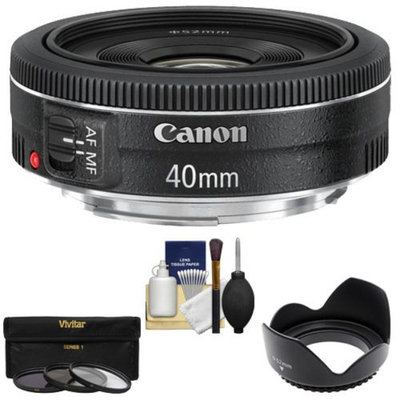 Canon EF 40mm f/2.8 STM Pancake Lens with 3 (UV/CPL/ND8) Filters + Hood + Cleaning Kit for EOS 6D, 70D, 5D Mark II III, Rebel T3, T3i, T4i, T5, T5i, SL1 DSLR Cameras
