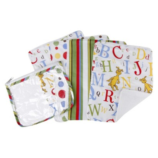 Trend Lab 5-Piece Baby Burp Cloth and Pouch Set - Dr. Seuss by Lab