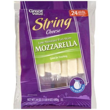 Great Value Mozzarella String Cheese, 1 oz, 24 count