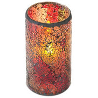 Melrose International LED Mosaic Flameless Candle, Cracked Glass Pattern, 3