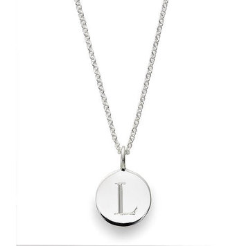 Sarah Chloe Sterling Silver Engraved L on 16 inch Cable Chain