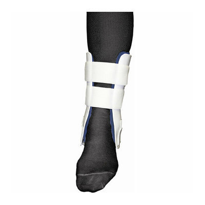 Bell-Horn Rigid Stirrup Ankle Brace in White / Blue