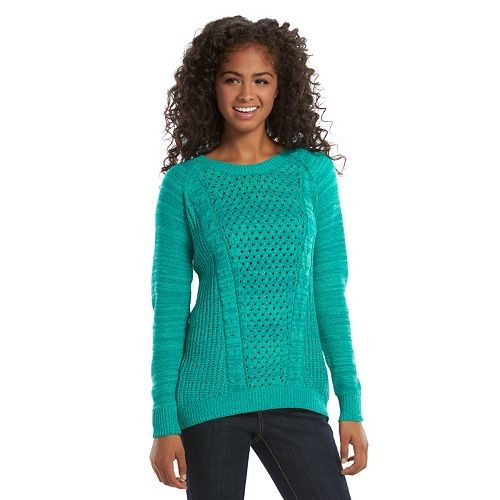 SO® Juniors' Cable-Knit Sweater