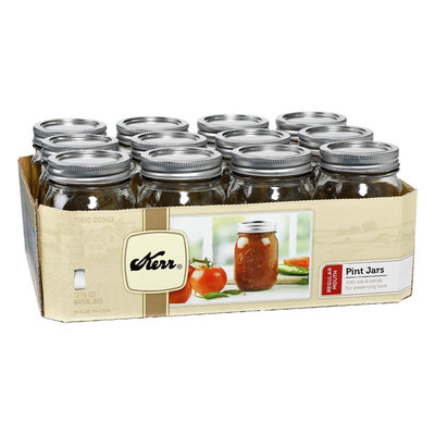 Kerr 00503 1-Pint Regular Mouth Canning Jars - 12-Pack