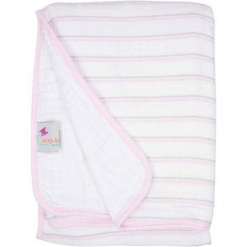 Miracle Industries MiracleWare Pink & Grey Stripes Muslin Serenity Blanket