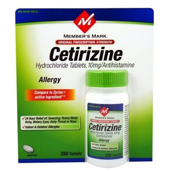 Members Mark Cetirizine Allergy, Tablets, 350-Count