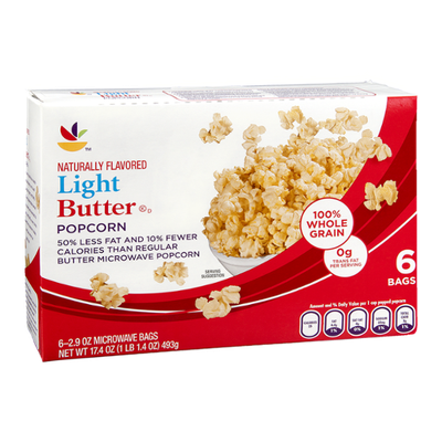 Ahold Microwave Popcorn Light Butter - 6 CT
