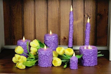 Delighted Home MC-W5L Hand-Waxed Battery-Operated 5 in. Lilac MC Pillar Candle