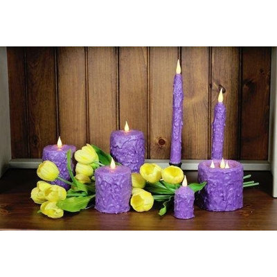 Delighted Home MC-W3L Hand-Waxed Battery-Operated Lilac MC 3 Wick Candle