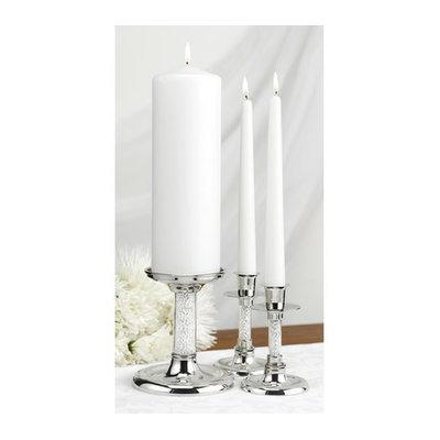 Hortense B. Hewitt Glittering Beads Candle Stand Set - Silver