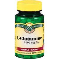Spring Valley L-Glutamine Dietary Supplement Tablets, 1000 mg, 100 count