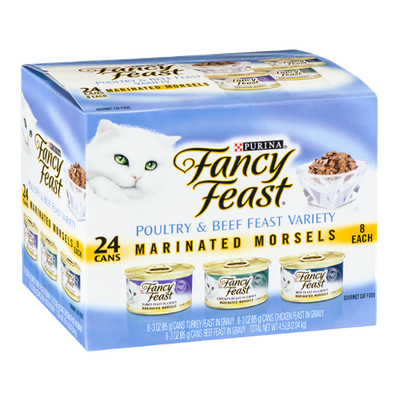 Purina Fancy Feast Poultry & Beef Feast Variety Marinated Morsels Gourmet Cat Food - 24 CT