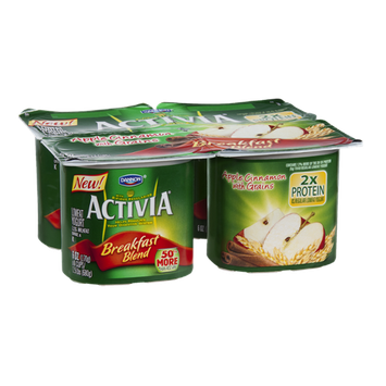 Activia Breakfast Blend Lowfat Yogurt Apple Cinnamon with Grains - 4 CT
