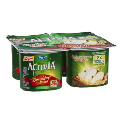 Activia Breakfast Blend Lowfat Yogurt Apple Cinnamon with Grains - 4 CT