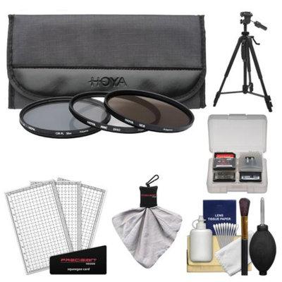 Hoya 52mm 3-Piece Digital Filter Set (HMC UV Ultraviolet, Circular Polarizer & ND8 Neutral Density) with Case + Tripod Kit for Canon, Nikon, Sony, Olympus & Pentax Lenses