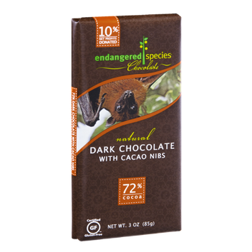 Endangered Species Chocolate Dark Chocolate With Cocao Nibs Bar Natural - Bat