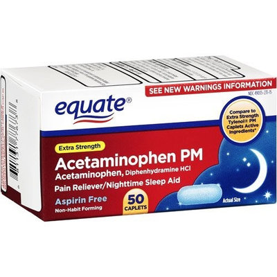 Equate - Pain Reliever PM Sleep Aid, Extra Strength, Acetaminophen 50 Caplets, Compare to Tylenol PM