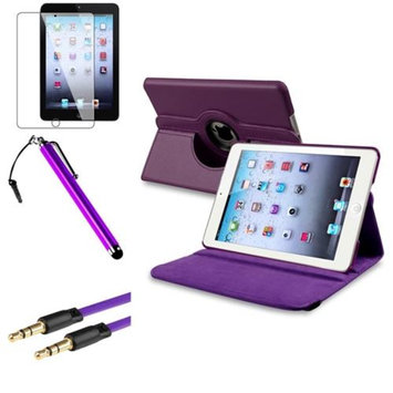 Insten iPad Mini 3/2/1 Case, by INSTEN Purple 360 Leather Case Cover+Guard+Pen+Cable for iPad Mini 3 2 1