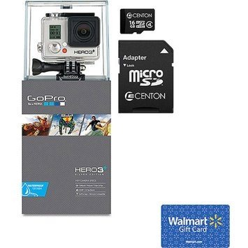 GoPro HERO3 Silver+ Edition Action Camcorder with Memory Card and $25 Walmart Gift Card Value Bundle