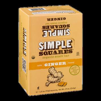 Simple Squares Organic Snack Bar Ginger - 12 CT