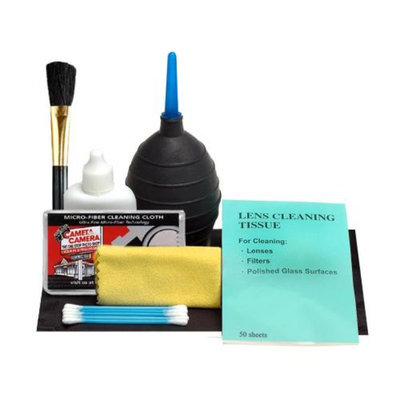 Precision Design 7-Piece Lens Cleaning Kit (Blower/Brush/Fluid/Cloth/Tissues/Tips) & Microfiber Cloth for ALL Digital SLR Cameras