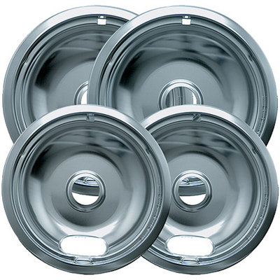 Range Kleen 4-Piece Drip Bowl, Style A fits Plug-In Electric Ranges Amana/Crosley/Frigidaire/Kenmore/Maytag/Whirlpool, Economy Plated