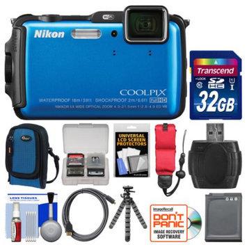 Nikon Coolpix AW120 Shock & Waterproof Wi-Fi GPS Digital Camera (Blue) with 32GB Card + Case + Battery + Flex Tripod + Float Strap + Kit