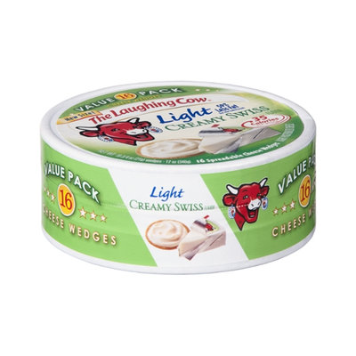 The Laughing Cow Light Creamy Swiss Spreadable Cheese Wedges Value Pack  - 16 CT