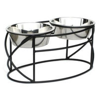 Petsstop Oval Cross Double Raised Feeder - Medium