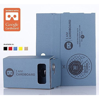 I AM CARDBOARD® 45mm Focal Length Virtual Reality Google Cardboard with Printed Instructions and Easy to Follow Numbered Tabs (WITHOUT NFC) (Blue)