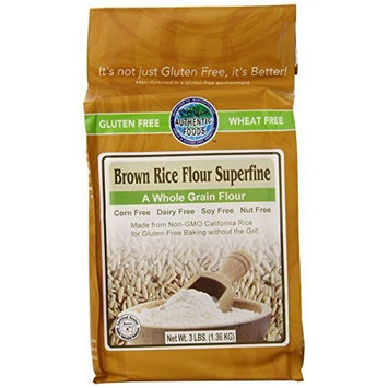 Authentic Foods Gluten Free Brown Rice Flour Superfine -- 3 lbs