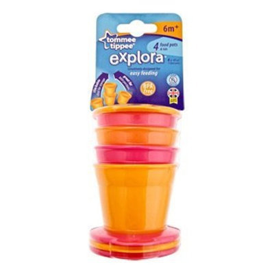 Tommee Tippee Explora 4 pk Food Pots w/ Lids 6m+ Orange/Pink (BPA FREE)