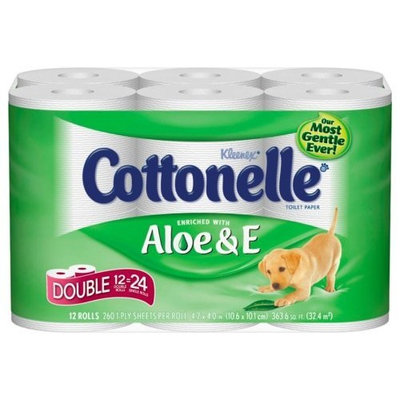 Kleenex Cottonelle Aloe & E Double Toilet Paper, 260-Sheet Double Rolls, 12-Count Packs (Pack of 4)