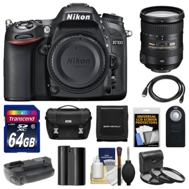 Nikon D7100 Digital SLR Camera Body with 18-200mm VR Lens + 64GB Card + Case + Battery & Grip + HDMI Cable + Filter Set