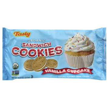 Tasty Brand Vanilla Cupcake Organic Sandwich Cookies, 9.5 oz, (Pack of 6)